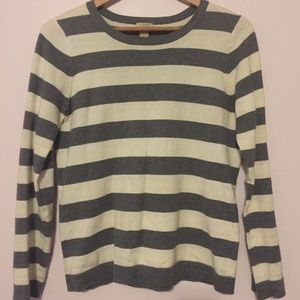 JCrew Grey and White Stripped Sweater